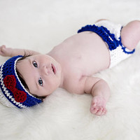 Baby Girl in Sailor Uniform, Crochet Marine Officer, Hat only or Set of Hat with Bow and Diaper Cover, Newborn size to 3 months old