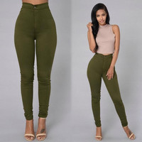 2017 Women Pencil Stretch Casual  Denim Skinny Jeans Pants High Waist Trousers Y