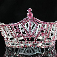 Miss America Full Crown Austrian Rhinestone Crystal Tiara Pageant Bridal Prom T1297p Pink