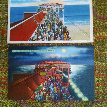 Vintage Old Orchard Beach Pier Linen Postcards Night and Day, Maine Coast Scenes