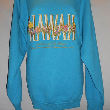 Vintage 80s Hawaii Raglan Sweatshirt Gold Hibiscus Screen Print The Flowers of the Islands Teal Blue Size XL Vacation Cozy Kawaii