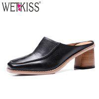 WETKISS Genuine Leather Square toe Mules 2017 Fashion Women's Shoes Neutral Thick Heels Slingback Pumps Female Shoes Superstar