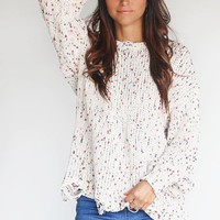 Going On Beige Multicolor Pom Sweater