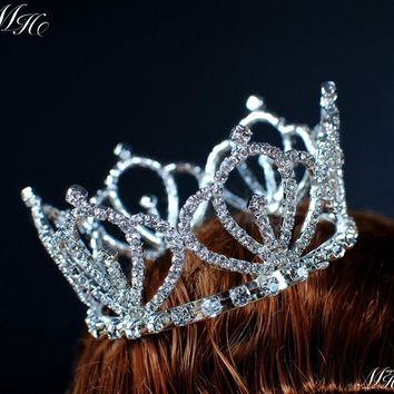 2c4afc9c52ed5d Royal Style Small Round Tiara Mini Crown Clear Crystal Rhinestone Hairwear  for Bride Pageant Prom Birthday