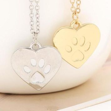 Cute Cat Lover Friendship Heart Charm Necklace