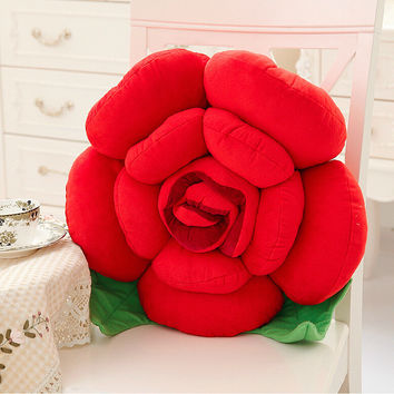 2016NEW 100%Cotton 3D Rose Pillow Cushion With Filling Stuffed Toy Funny Plush Bolster Christmas Present