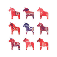 Swedish Dala Horse Print - 8 x 10 - Scandinavian Print - Red