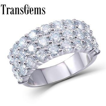 Transgems 2.8CTW Carat F Color Lab Grown Moissanite Diamond Engagement Wedding Band Genuine Solid 14k 585 White Gold For Women