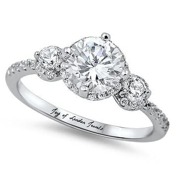 A Perfect 2CT Three Stone Journey Russian Lab Diamond Halo Promise Engagement Anniversary Wedding Ring