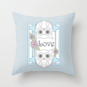 Cute Retro Owls & Roses Love Throw Pillows: Valentine's Day, Mother's Day, or Wedding Girly Gift for Her