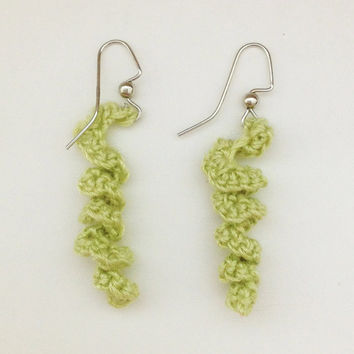 Crochet Earrings in spiral green earrings, jewelry, accessory.
