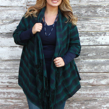 Covered And Cozy Plaid Print Cardigan With Roll Tab Sleeves ~ Hunter Green ~ Sizes 12-18
