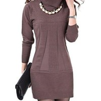 Camel Turtleneck long Sleeve Knitted Dress