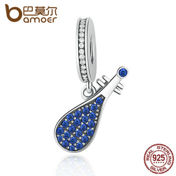 BAMOER 925 Sterling Silver Blue Musical Instrument China Lute Pendant Charms fit Bracelets Women Fashion Jewelry SCC112
