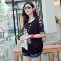 Printed Cut-Out Sleeve Tee