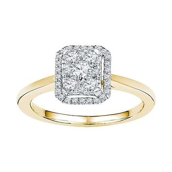 10kt Yellow Gold Women's Round Diamond Square Cluster Ring 1/3 Cttw - FREE Shipping (US/CAN)