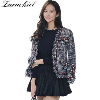 Zarachiel Fashion Runway Tweed Jacket Coat 2018 Autumn Winter Women Fringed Trim Long Sleeves Front Pockets With Pearls Detail