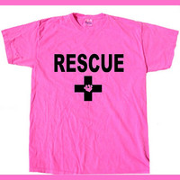RESCUE with paw print in Cross Unisex Hot Pink T- shirt. hand printed  Dog.Cat.Animal lover. Animal Activist shirt.Adopt don't Shop