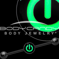 Glow in the Dark Power Button Industrial Barbell in Black Titanium | Body Candy Body Jewelry
