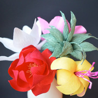 Single paper flower with leaves yellow from luciabalcazar on paper flower arrangement multicolored paper flowers in a bisque ceramic vase handmade crepe paper mightylinksfo