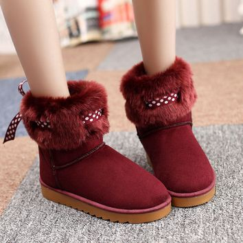Fashion Women's Bowknot Warm Winter Snow Boots
