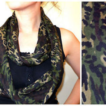 Leopard Infinity Scarf Animal Print Loop Knit Jersey Circle Camo Camouflage NEW