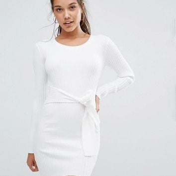 Missguided Ribbed Long Sleeve Sweater With Tie Waist at asos.com