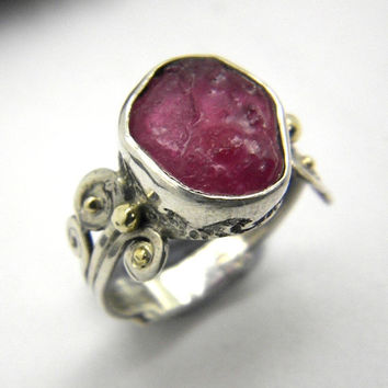 Ruby ring sterling silver abstract rough ruby pink raw stone gemstone ring size 6.5, July birthstone artisan jewelry
