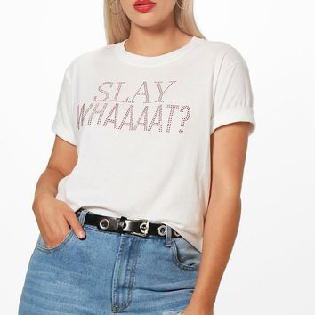 Plus Kate Slay With Rhinestone T Shirt | Boohoo