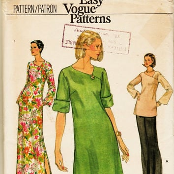 Vintage Very Easy Vogue Pattern 9761 Comfy Shift w Asymmetrical Neckline Dress, Maxi, Tunnic Sz 8 Uncut FF Career Office Wear Sewing Supply
