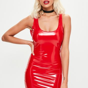 Missguided - Red Vinyl Scoop Back Mini Dress
