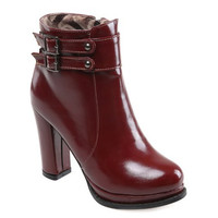 Double Buckle High Heel PU Boots