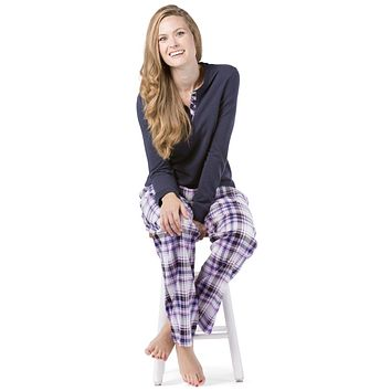 Women's EcoFabric™ Fleece/Flannel Plaid Pajama Set with Gift Box