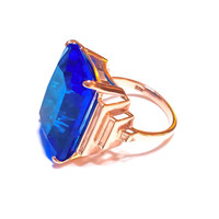 Huge London Blue Topaz 14K Gold Ring, Sterling Silver, Retro Style, Rose Gold, Stepped Sides, Statement