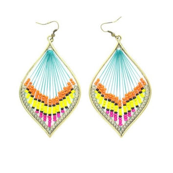 Fashion Jewelry Cute Colorized Peacock Feather Design Earrings