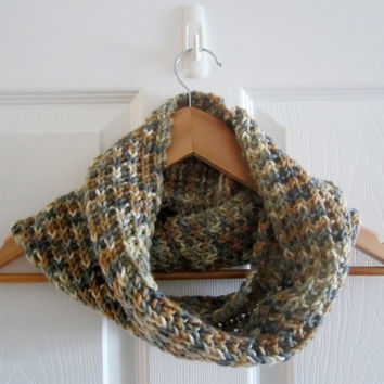 Warm Cowl - Winter Cowl - Brown Cowl - Neckwarmer - Knit Cowl - Brown and Grey Cowl - Knitted Neck Warmer - Hand Knit Cowl - Winter Knit
