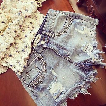 2017 summer women Diamond Beading denim shorts casual ladies jeans shorts