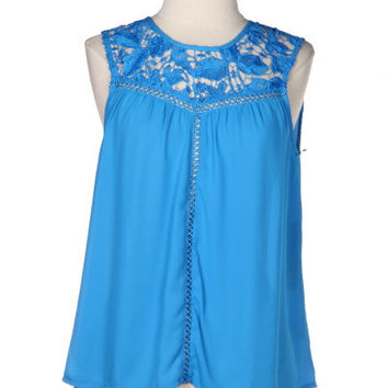 Steal My Sunshine Crochet Lace Up Top - Turquoise