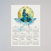 The Little Mermaid Ariel Disney Calendar Personalized 2016 Watercolor Picture Print Save the date gift Christmas New Year Birthday present