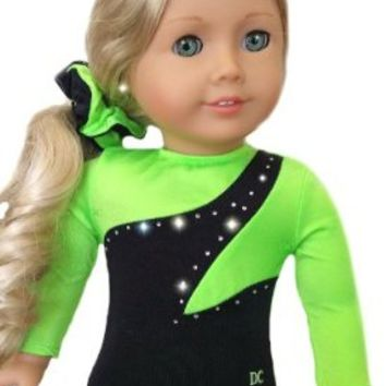 Doll Gymnastics Clothes for American Dolls for Girls Outfit Includes Neon Green and Black Sparkly Dance Olympic Leotard and Hair Accessory USA (2 Piece Set)