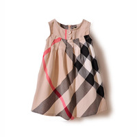Girls dress plaid summer dress for kids roupas infantis menina new baby girls clothing casual baby girl clothes princess dress