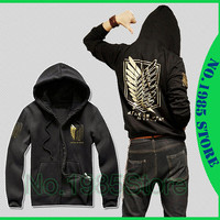 Custom Winter Anime attack On Titan Investigation Recon Corps Clothing Hooded Sweatshirt Cosplay Long Sleeve Hoodie Black Jacket