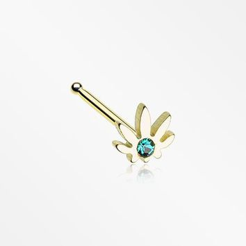 Golden Cannabis Sparkle Nose Stud Ring
