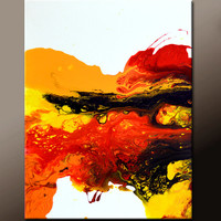 Abstract Art  Painting 18x24 Canvas Contemporary Art Paintings by Destiny Womack - dWo - Fires Within