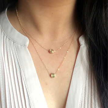 Rona • Round brass necklace // Tiny dot necklace // 14K gold necklace // Layering necklace