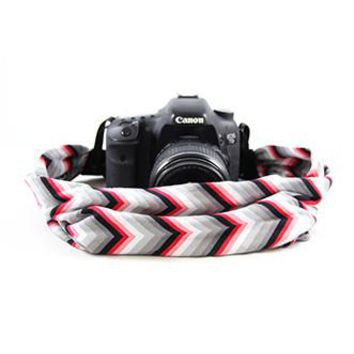 Red And Grey Chevron Scarf Camera Strap - Capturing Couture - CASCARF-CVRG