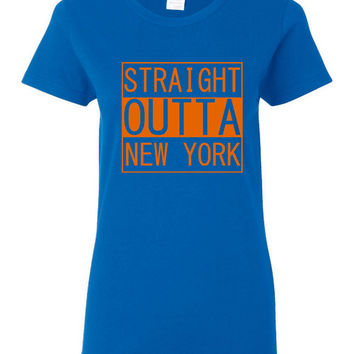 Straight Outta new York  Tshirt Mets Fans baseball Playoff Ladies Mens Playoff T Shirt