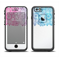 The Vibrant Vintage Polka & Sketch Pink-Blue Floral Apple iPhone 6 LifeProof Fre Case Skin Set