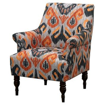 Candace Arm Chair - Ikat Gray/Orange