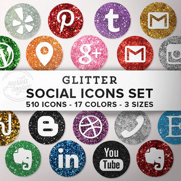 HUGE Glitter Social Media Icons Set - 510 png files - Glitter shades - 30 Icons - 17 colors 3 sizes INSTANT DOWNLOAD